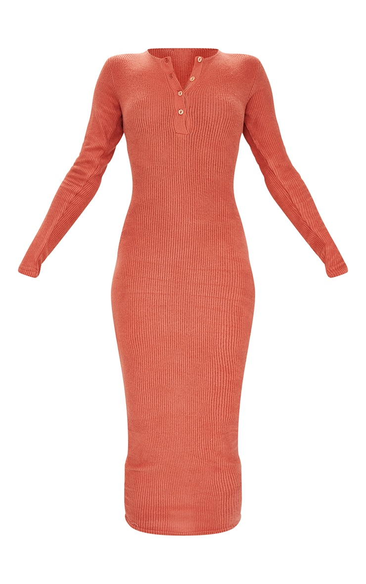Terracotta Brushed Rib Button Front Midaxi Dress 5