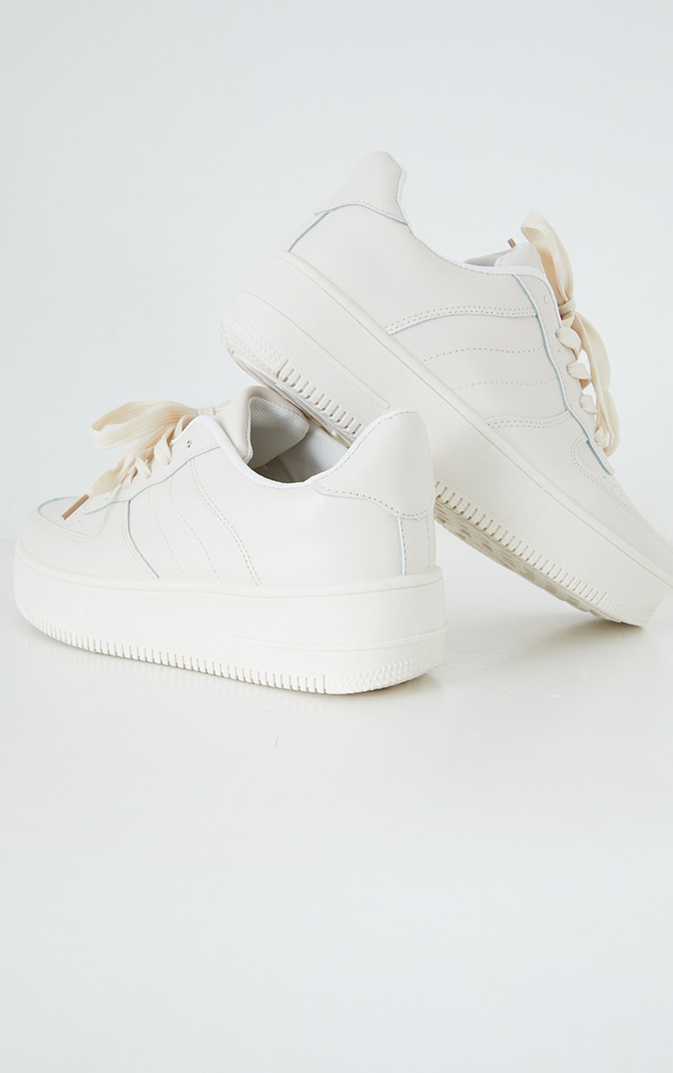 Nude Lace Up Flatform Sneakers  4