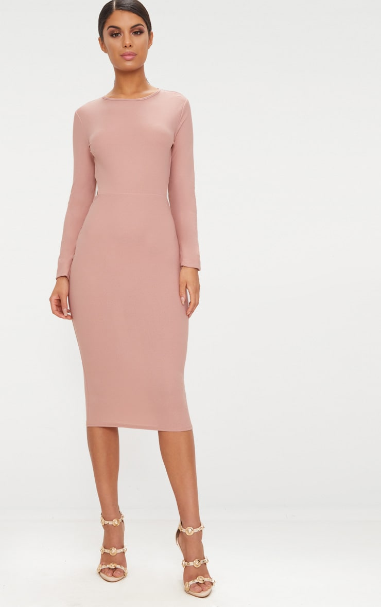 Dusty Pink Backless Bow Detail Midi Dress 2