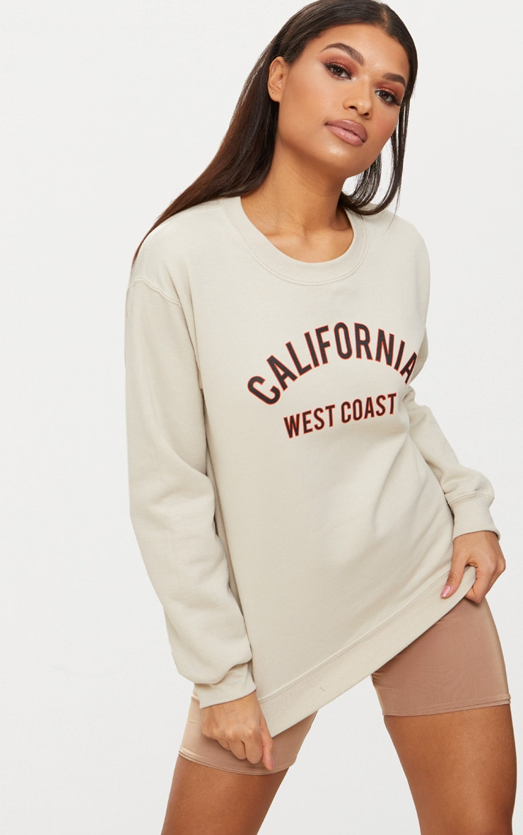 Sand California Slogan Oversized Sweater  4