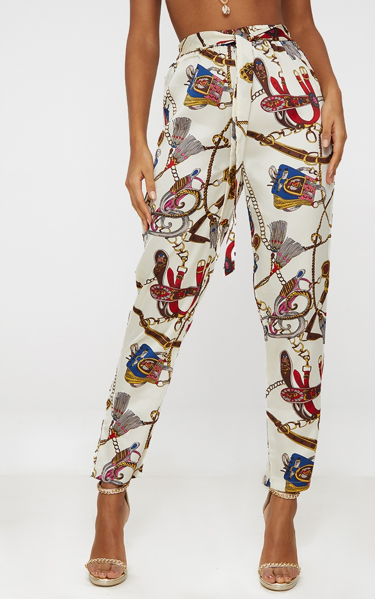 White Satin Chain Print Tie Waist Trousers 2