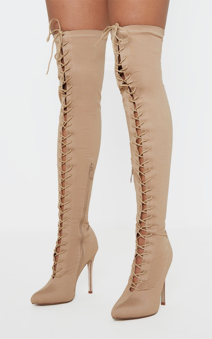 Nude Over The Knee Lace Up Boot 2