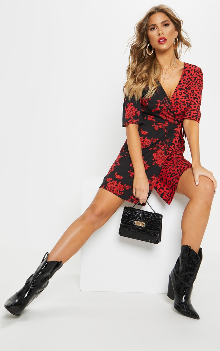 Red V Neck Mixed Print Tea Dress 4