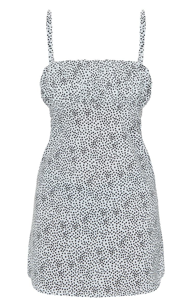 White Dalmatian Print Ruched Bust Shift Dress 5