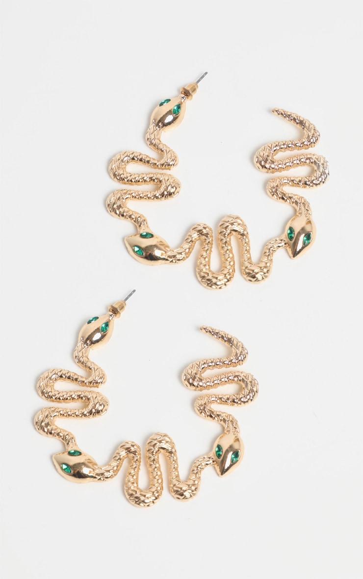 Gold Snake Green Diamante Hoop Earrings 2