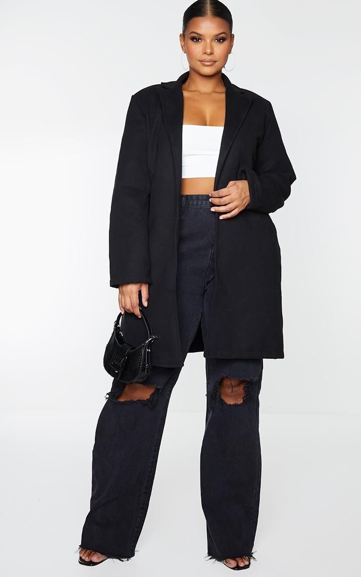 Plus Black Pocket Detail Coat 1