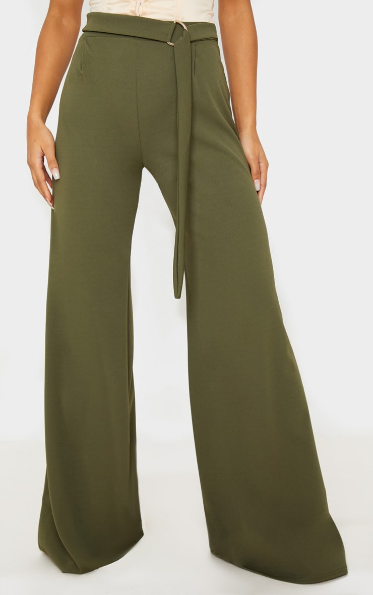 Khaki D Ring Belted Wide Leg Trousers 3