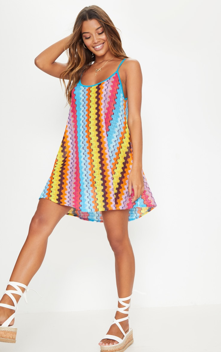 Orange Strappy Printed Knitted Swing Dress 4