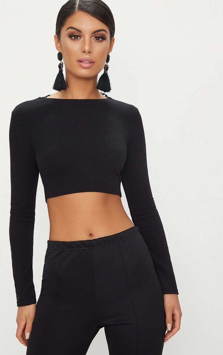 Black Lace Up Back Long Sleeve Crop Top  2