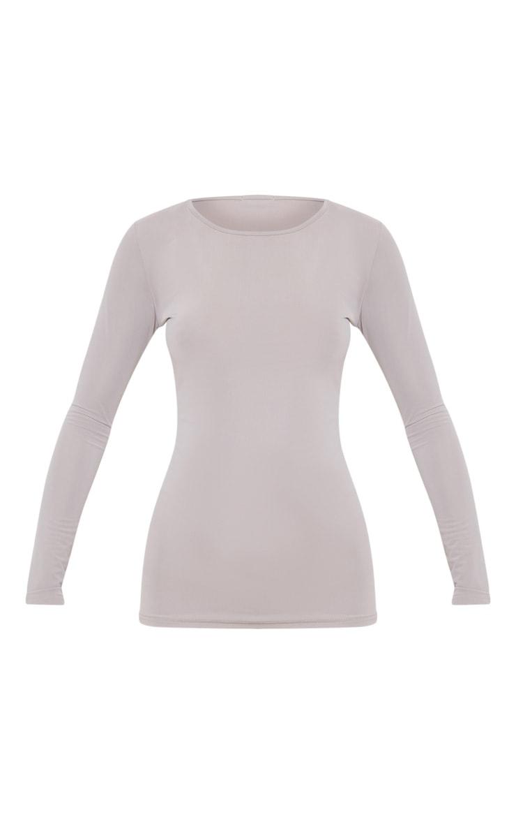 Grey Basic Long Sleeve Gym Top 3