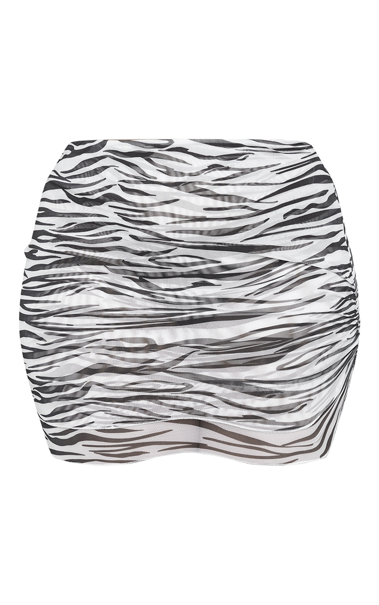 Plus Black Zebra Print Mesh Layered Skirt 6