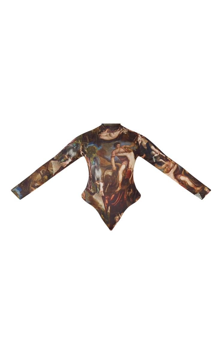 Plus Multi Renaissance Printed High Neck Long Sleeve Bodysuit 3