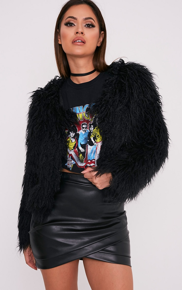 Black Cropped Faux Fur Coat Pretty Little Thing Free Shipping Clearance Store 19GyBs6D