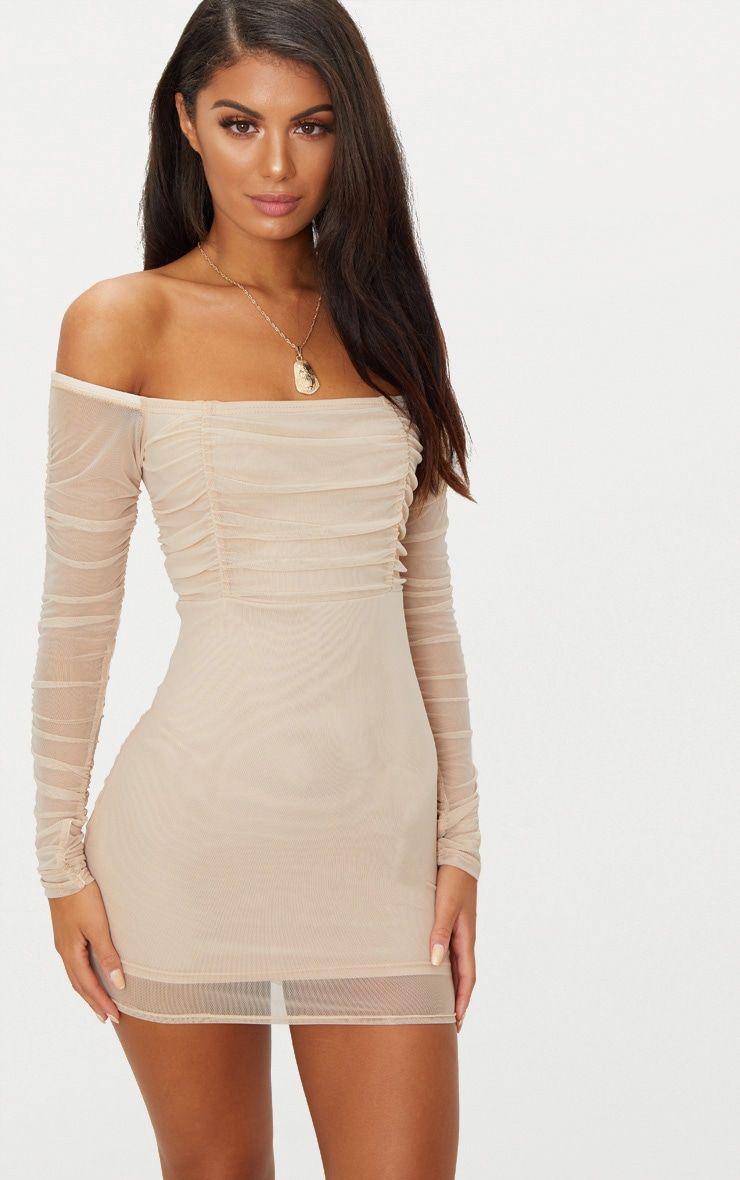Stone Ruched Mesh Bardot Bodycon Dress 1