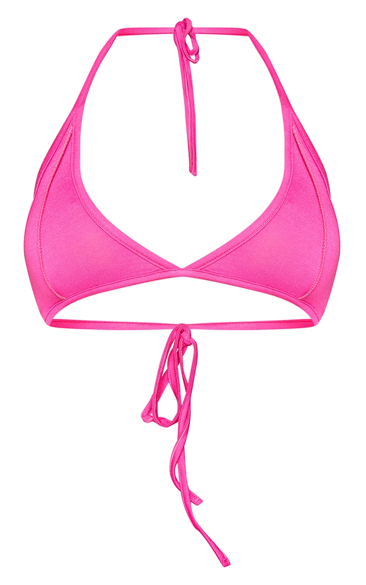 PRETTYLITTLETHING Shape Hot Pink Tag Bralet 5