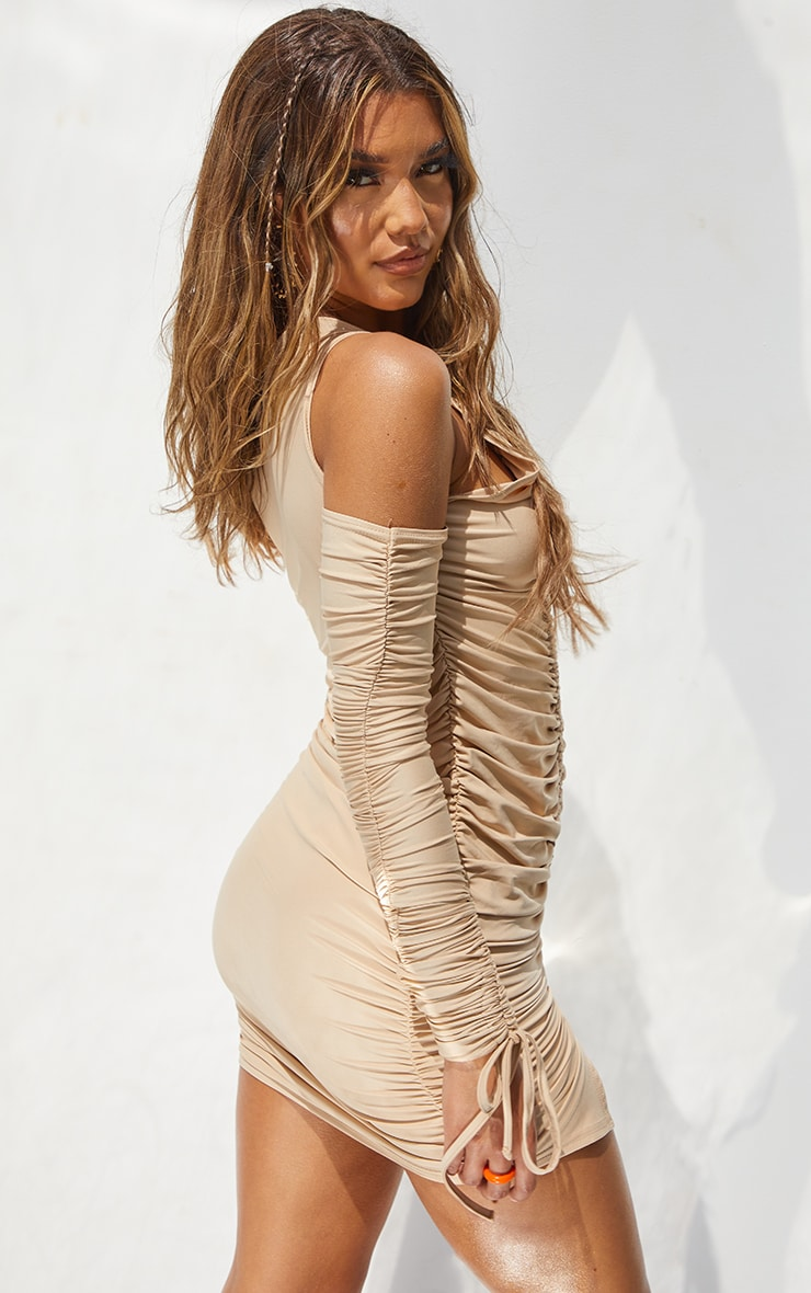 Stone Slinky Cold Shoulder Detail Ruched Bodycon Dress 2