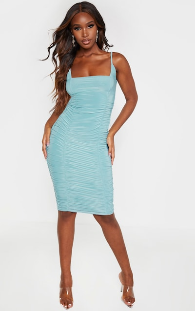 Dusty Turquoise Slinky Strappy Ruched Side Detail Midi Dress
