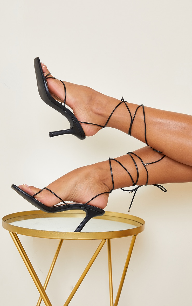 Black Extreme Square Toe Lace Up Heels 2