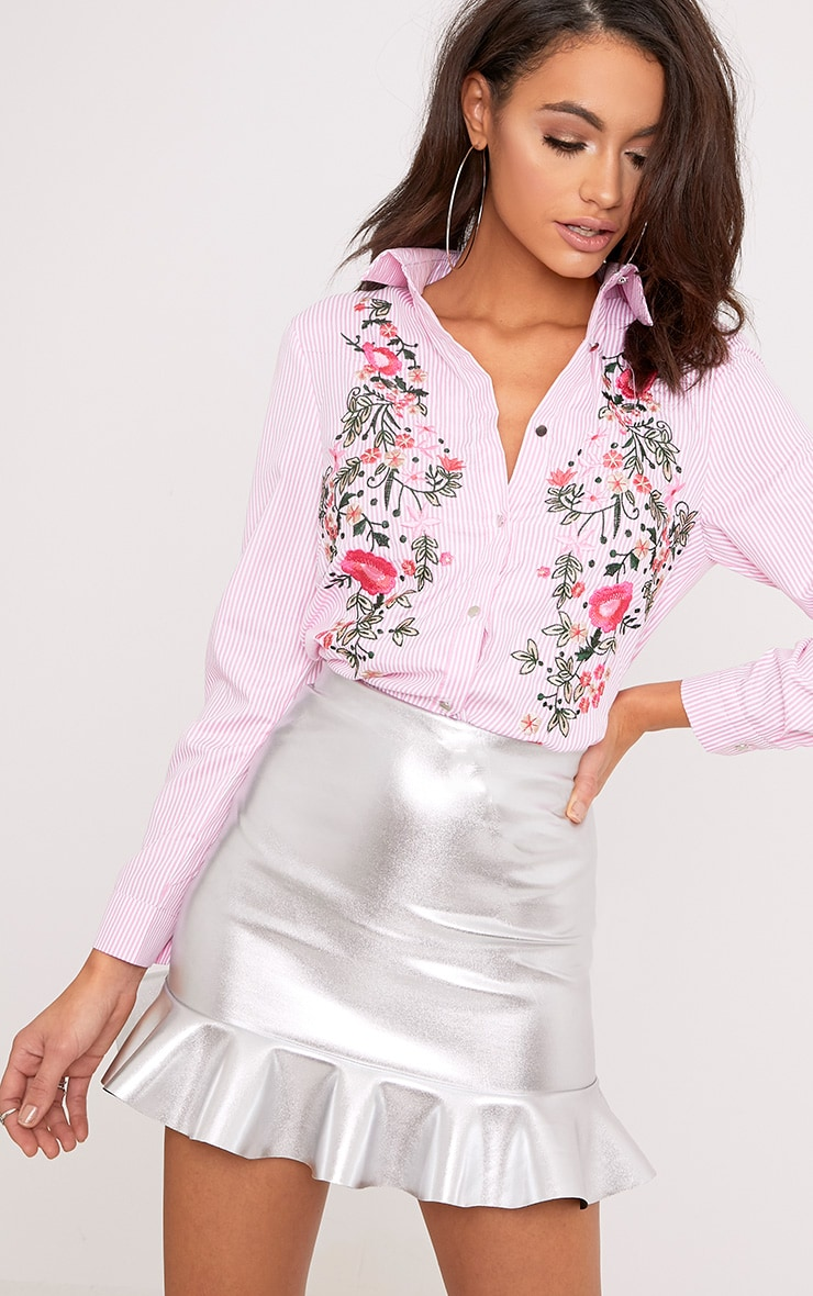 Pheobe Pink Embroidered Striped Shirt  1