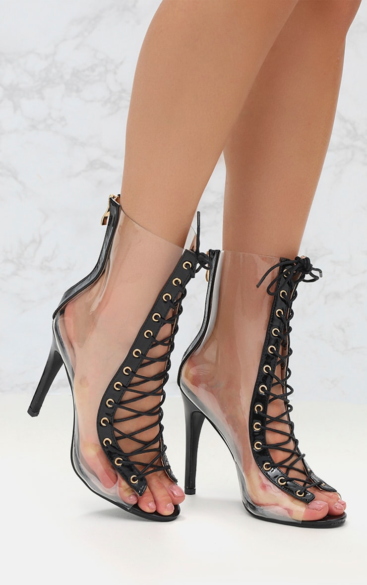 Black Lace Up Clear Ankle Boot 1