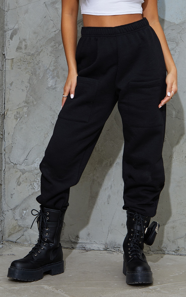 Petite Black Pocket Thigh Casual Joggers 2