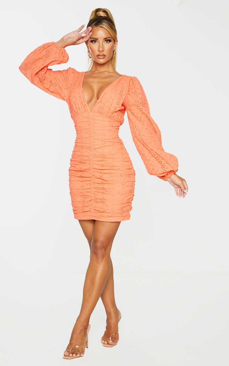 Coral Broderie Anglaise Ruched Balloon Sleeve Bodycon Dress 3