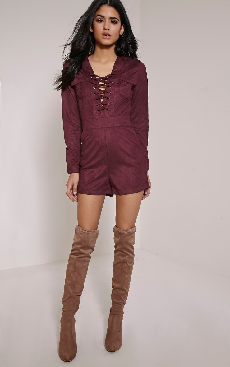 Kena Burgundy Faux Suede Playsuit 1