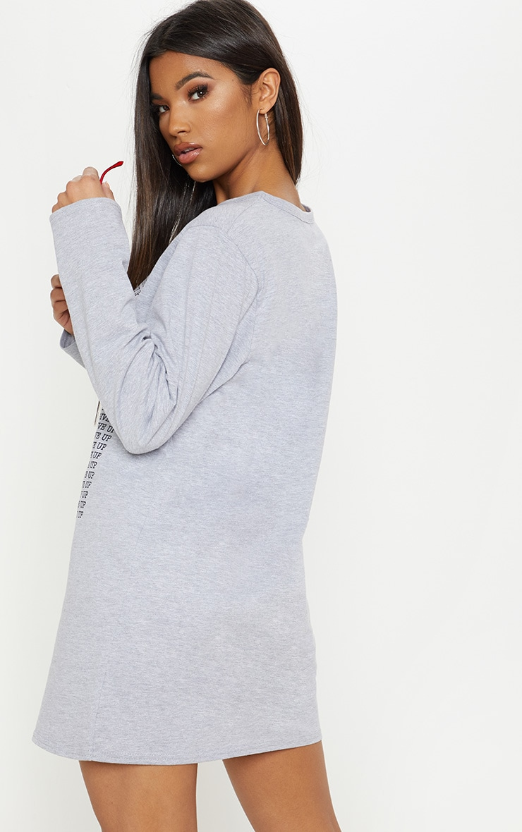 Grey Don't Give Up Oversized Long Sleeve T Shirt Dress 2