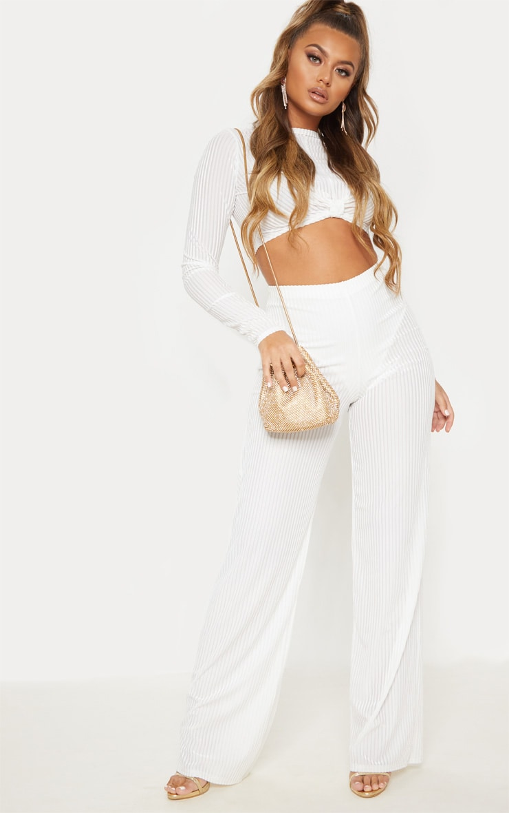 White Velvet Sheer Stripe Wide Leg Trouser 2