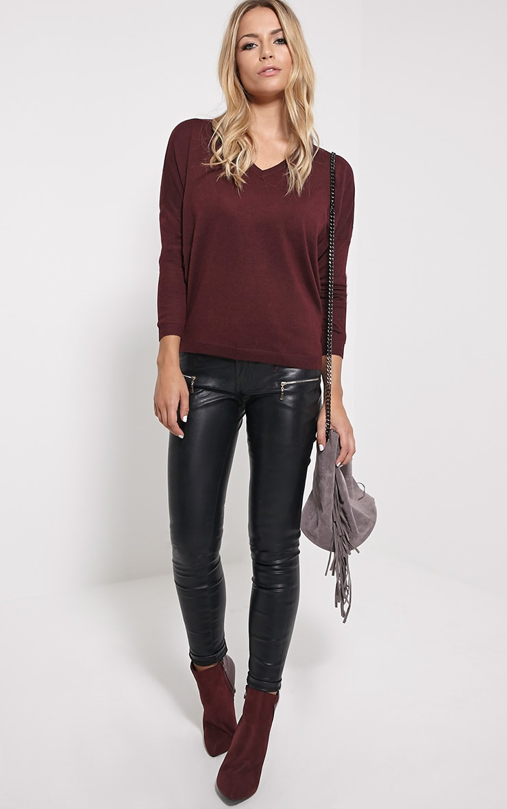 Mirari Burgundy Fine Knit Jumper 3