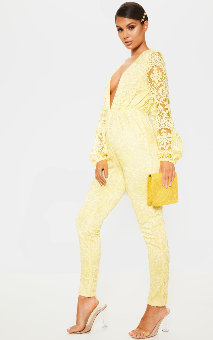 Lemon Sheer Paisley Long Sleeve Jumpsuit 3
