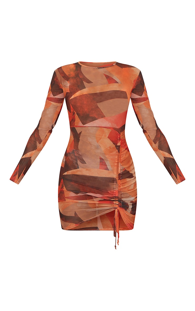 Orange Abstract Print Mesh Long Sleeve Ruched Skirt Bodycon Dress 6