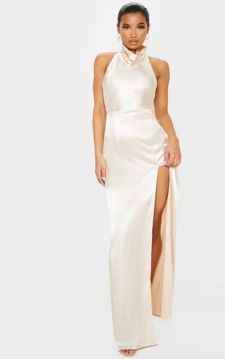 Champagne Satin High Neck Backless Maxi Dress 1