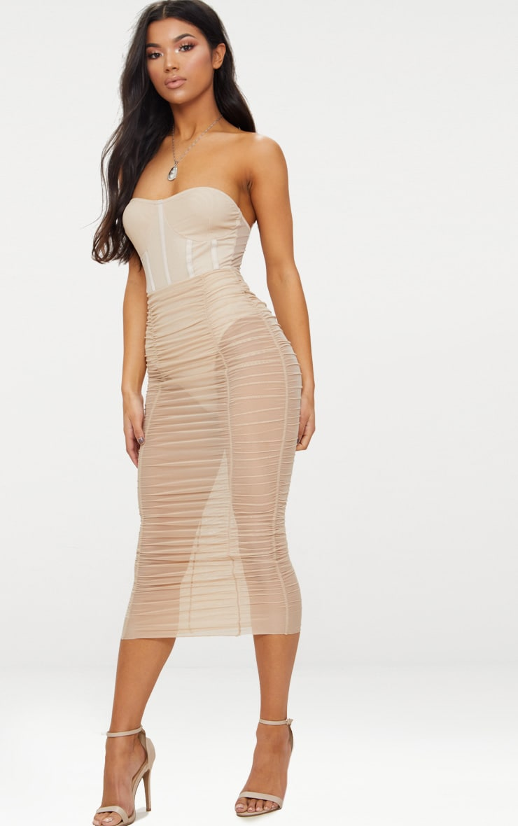 Nude Bandeau Mesh Ruched Bustier Bodycon Dress 3