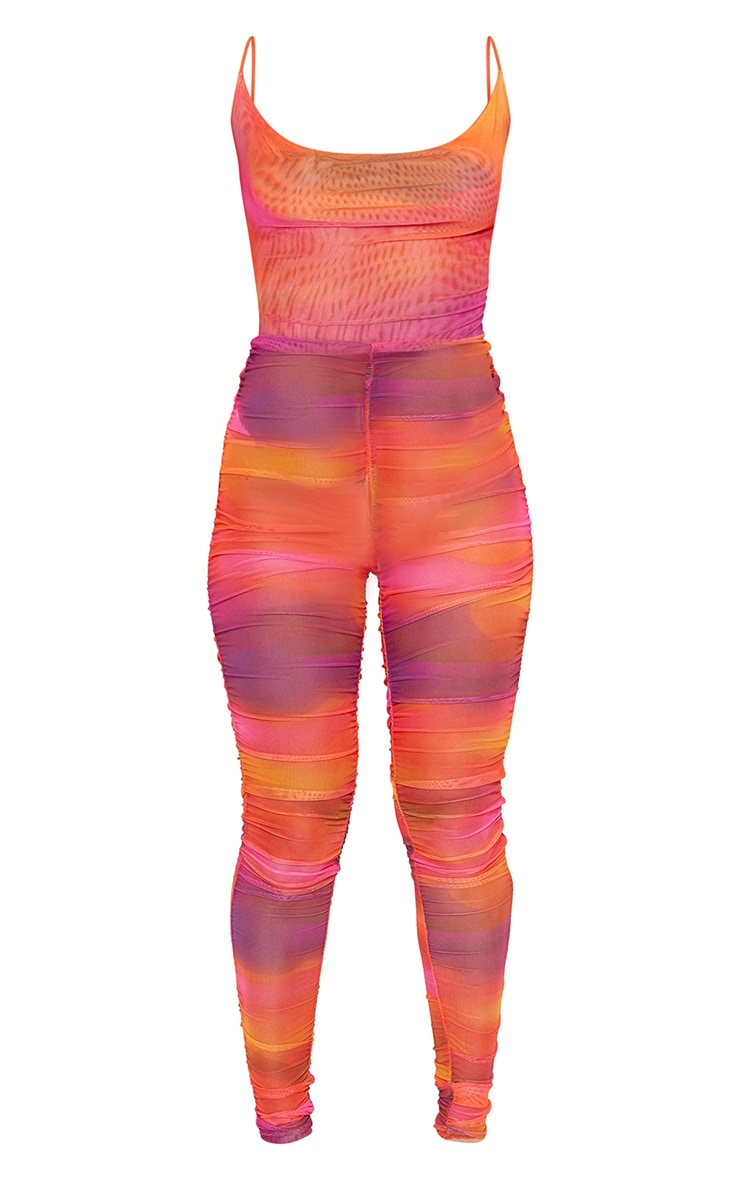 Pink Printed Strappy Lace Up Mesh Jumpsuit 5