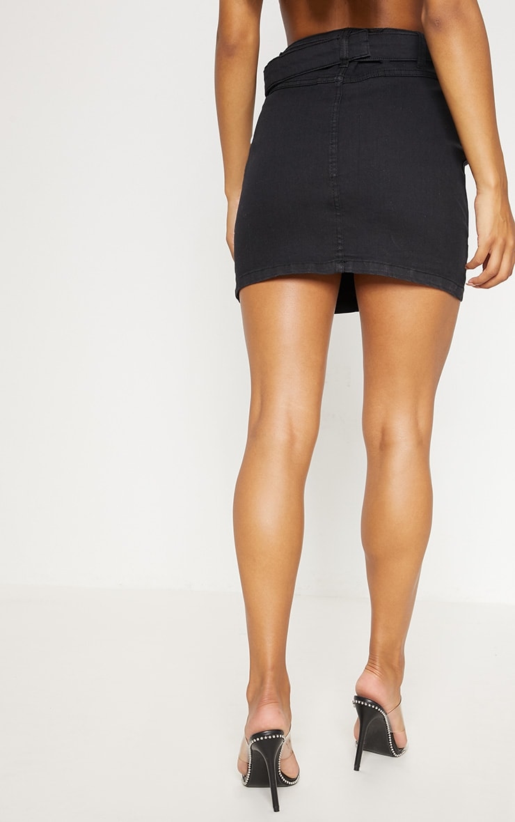 Black O-Ring Belt Detail Denim Mini Skirt  4