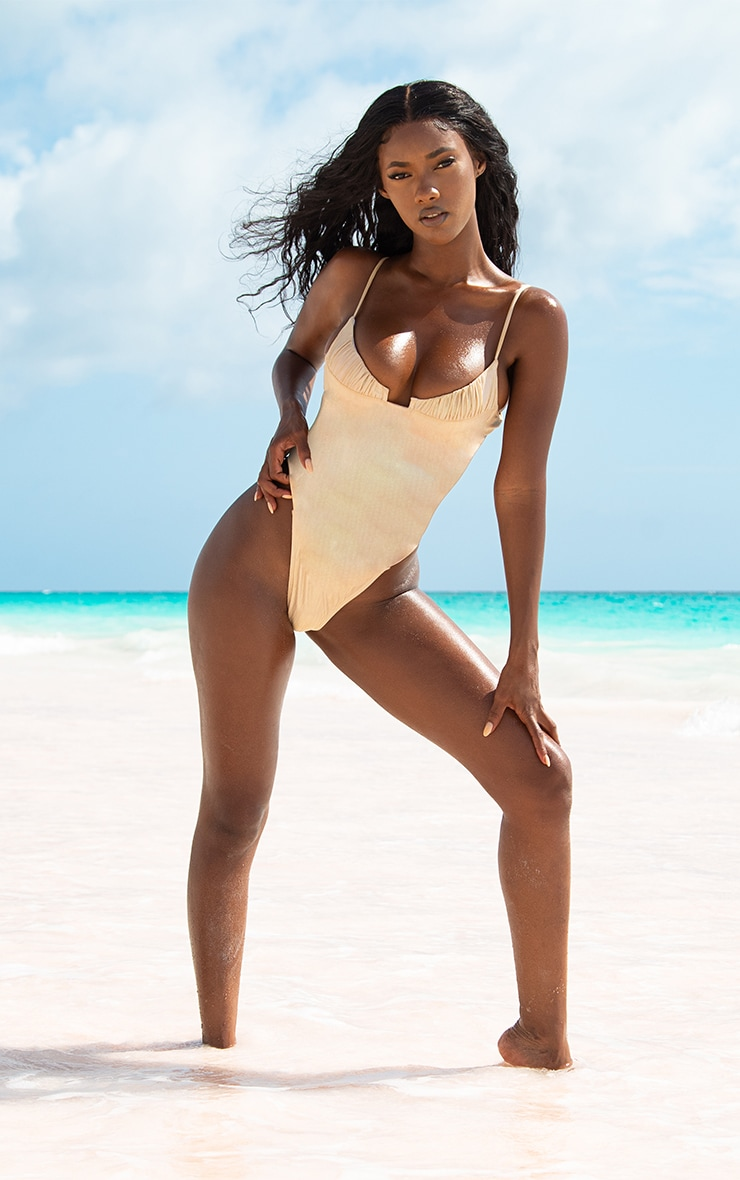 Rose Gold High Shine Ruched Cupped Swimsuit 2
