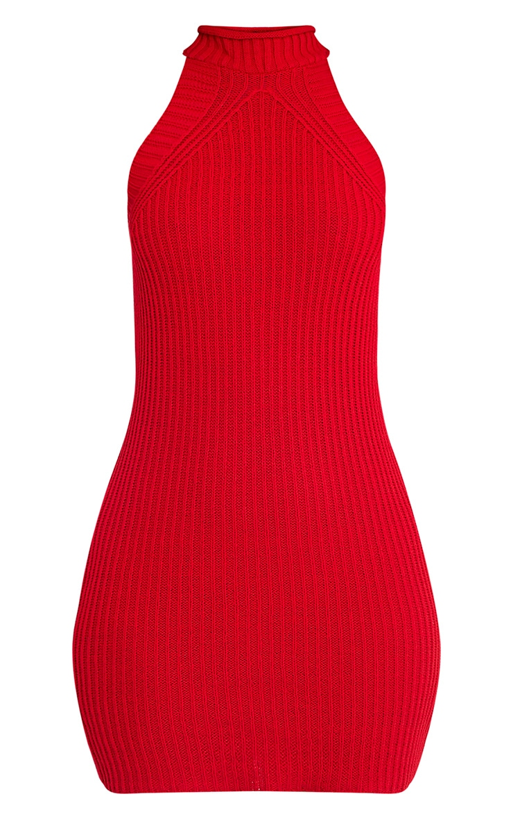 Nadalae Red Knitted High Neck Sleeveless Mini Dress 3