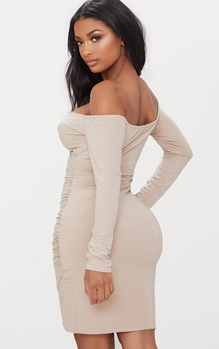 Shape Stone Slinky Ruched Detail Bardot Dress  2