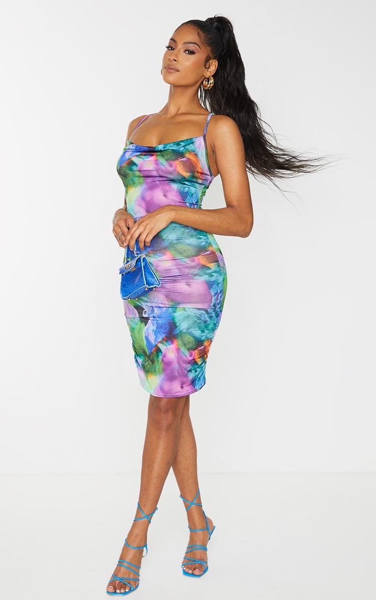 Multi Body Print Strappy Ruched Bodycon Dress 3