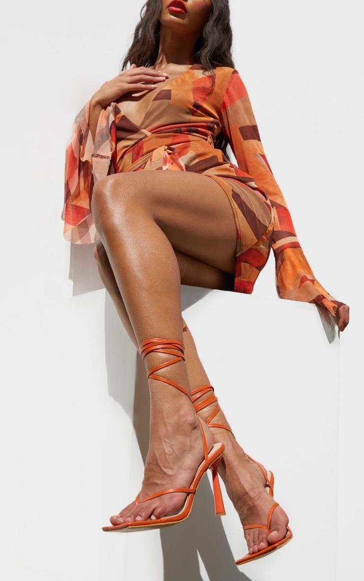Orange PU Toe Thong Lace Up Circle Heeled Sandals 1