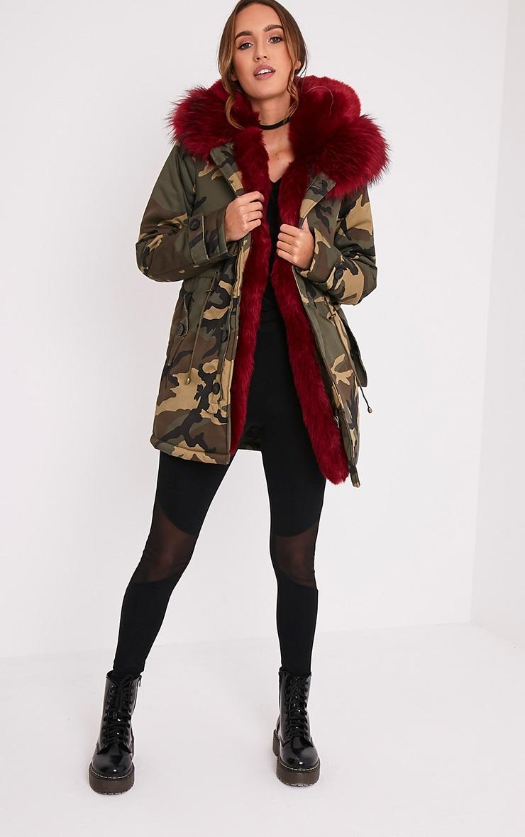 Fliss Red Premium Camo Faux Fur Lined Parka 5