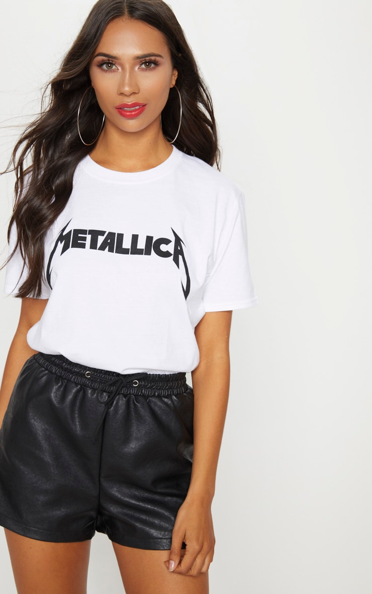 White Metallica Slogan Rock T Shirt  5