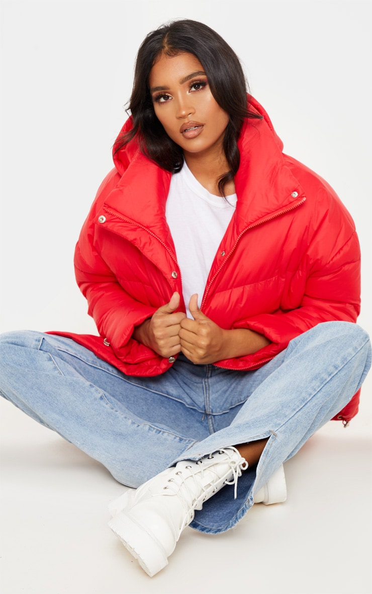 Bright Red Hooded Puffer Jacket 1