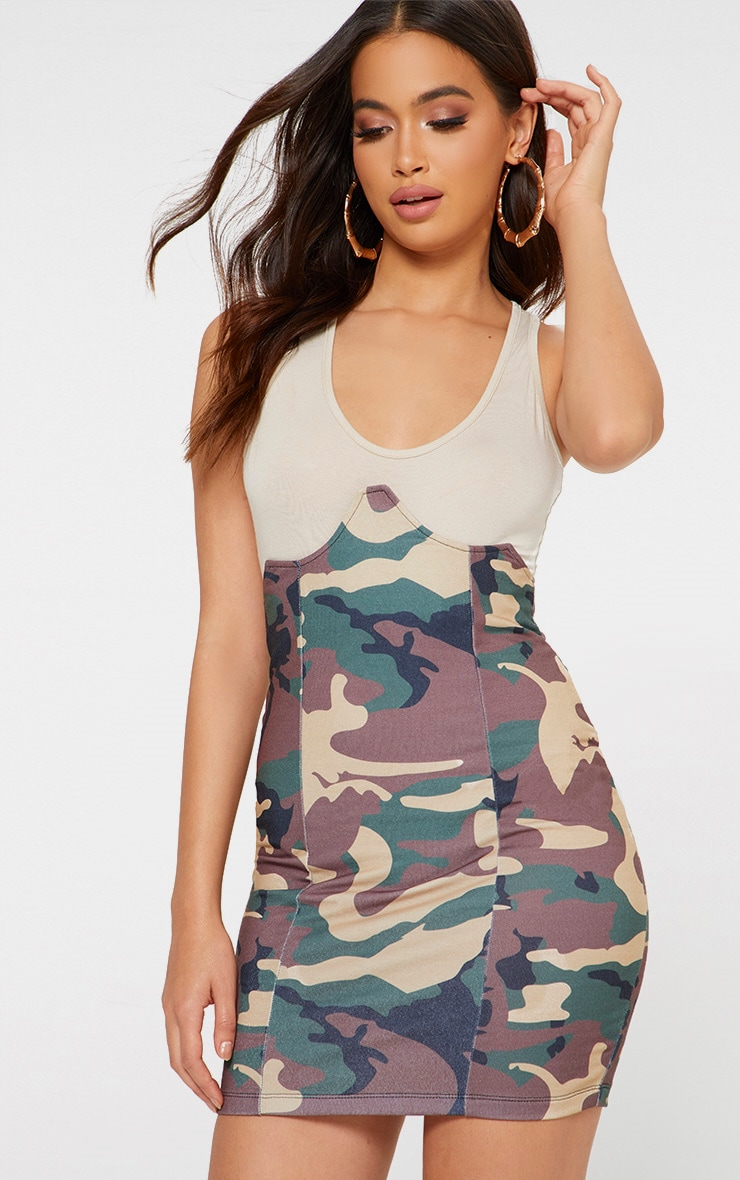 Khaki Camo Print Bustier Skirt 1