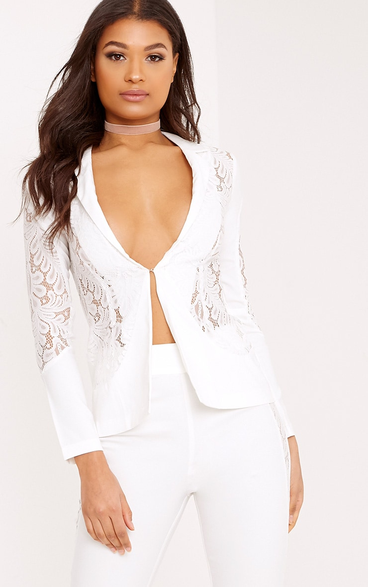 Mikaylah White Lace Insert Detail Suit Jacket 1