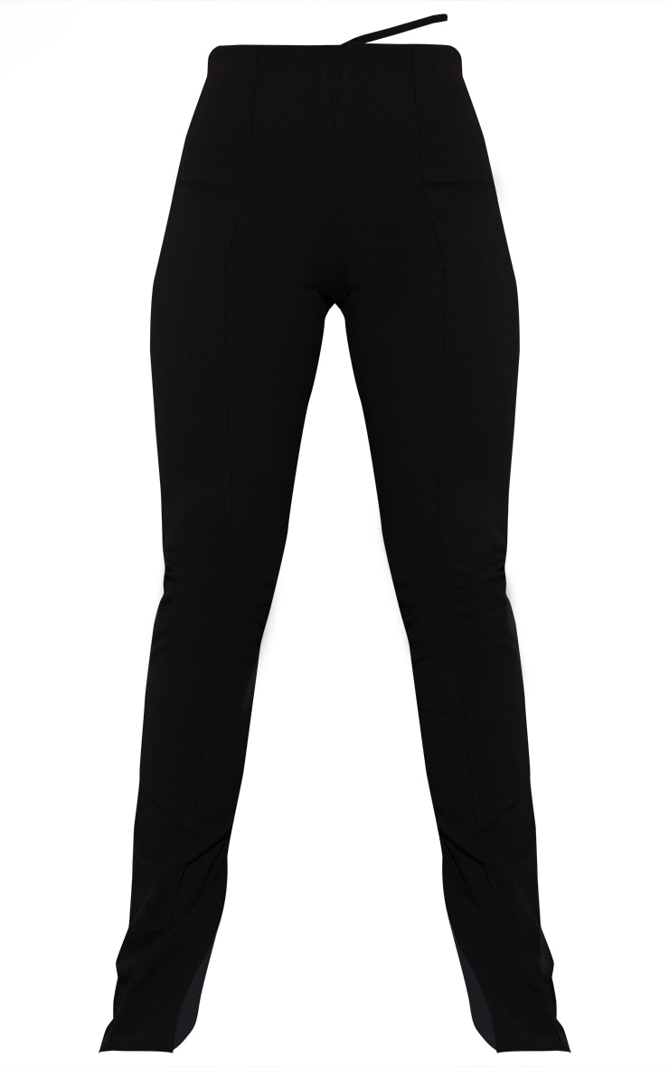 Black Contrast Stitch Cut Out Skinny Trousers 5
