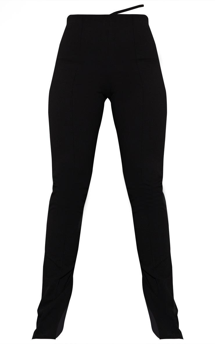 Black Contrast Stitch Cut Out Skinny Pants 5