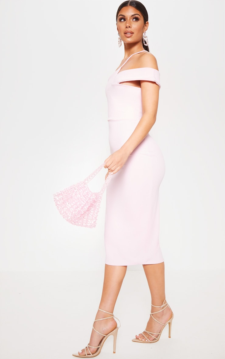 Baby Pink Asymmetric Neck Midi Dress 4