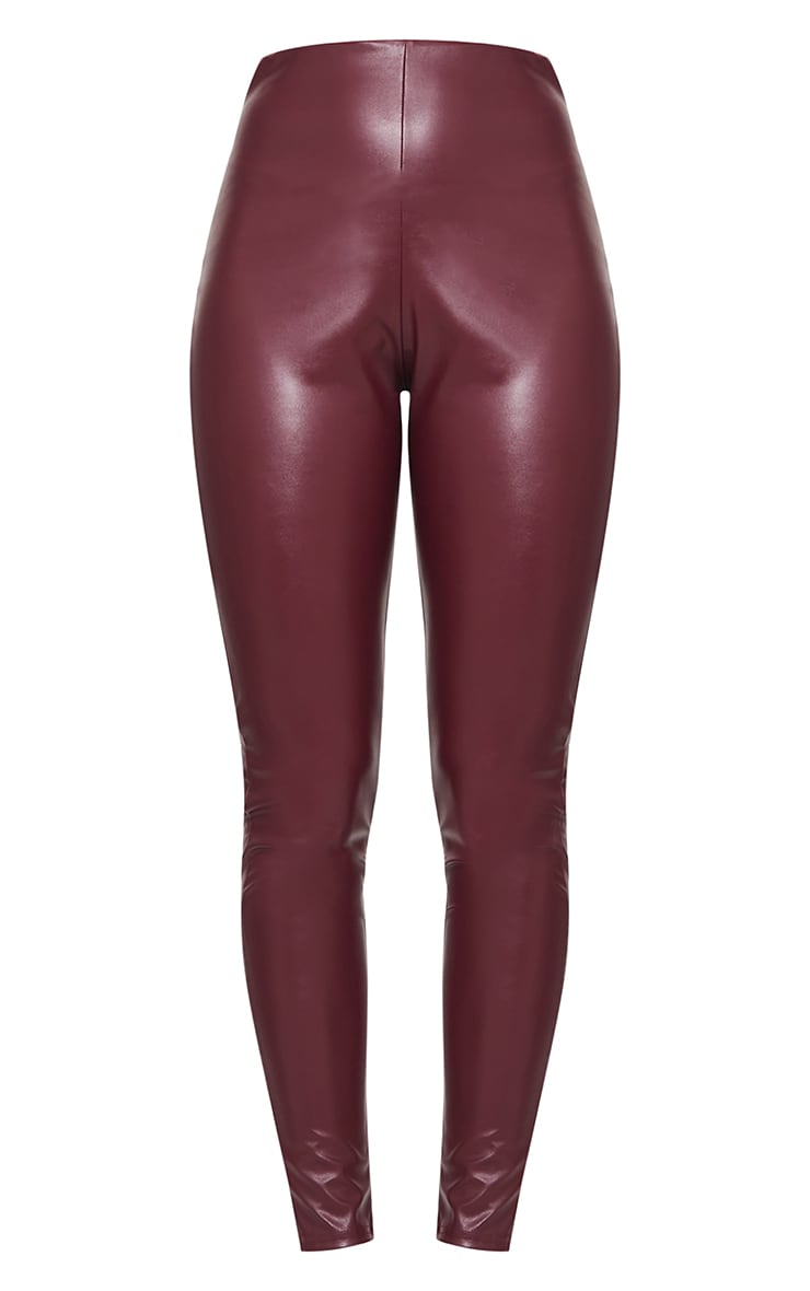 Wine Basic Faux Leather High Waist Leggings 5